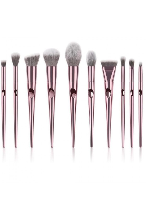 Kit Pinceau à Maquillage Rose Gold Métal
